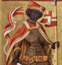 St. Maurice. Detail of a painted panel from the outer right-hand wing of a polyptych. (thumbnail)